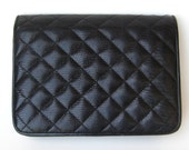 Vintage 80s Black Textured Quilted Leather Clutch Purse Handbag