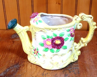 Vintage Ceramic Watering Can With Ornate Floral Design
