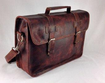"""DIAZ 17"""" Genuine Leather Briefcase / Laptop Satchel / Messenger Shoulder Bag in Crazy Horse Dark Brown"""