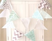 Bunting Banner Garland, Fabric Flags Light Blue, Aqua, Grey, Chevron, Turquoise, Polka Dot, Baby Nursery Decor, Wedding Garland, Photo Prop