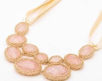 Pink Statement Necklace, Gold Wedding Necklace, Rose Quartz Necklace, Statement Wedding Necklace, Statement wedding Necklace Bubble