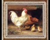 Chickens Baby Chicks Miniature Dollhouse Art Picture 1963