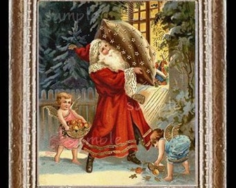 Victorian Christmas Santa Miniature Dollhouse Art Picture 6562