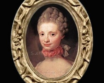 1700's lady Miniature Dollhouse Art Picture 6677
