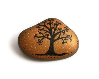 Tree Of Life Hand Painted Art Skaneateles Ny Lake Stone Autumn Fall Finds Decorative Rock Gift OOAK Home Decor