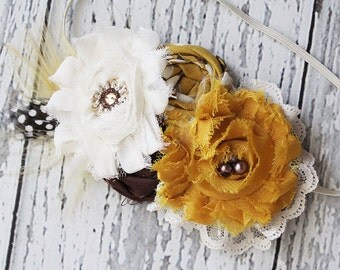 Fall Flight-ruffle, chiffon and rosette headband in brown, lustard and ivory