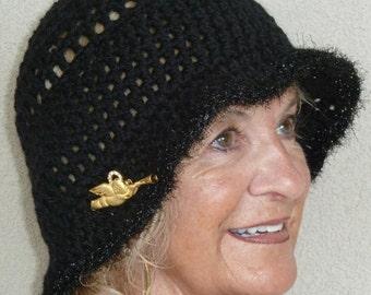 Women Fashion /  Sale Item / Women Crochet Hat / Black Crochet Hat / Women Brimmed Hat  / Hats by Anne  / Colorado Clothing