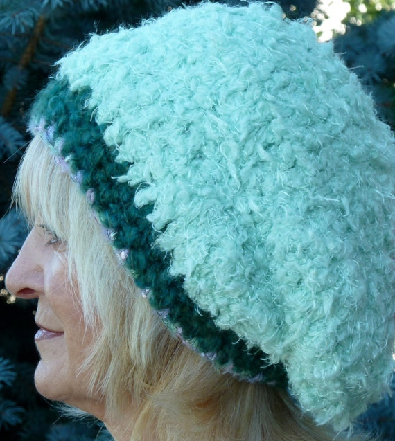 Bohemian Hat Green Slouchy Tam