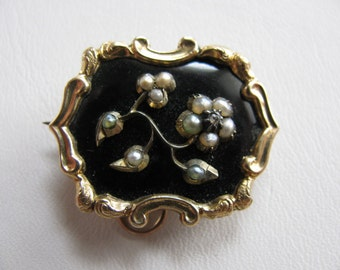 Victorian Mourning Brooch - Enamel, Seed Pearls, Hair