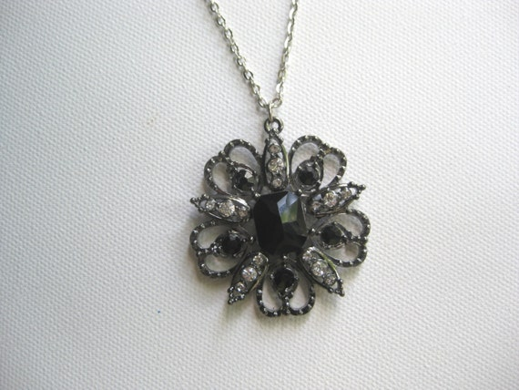 Old Hollywood Glam NECKLACE Black Crystal and Antique Silver Tone  with Clear Crystal insets Silver Tone Chain Free Shipping