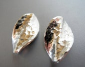 Karen Hill Tribe Silver Hammered Leaf Leaves  23mm  15mm Pair