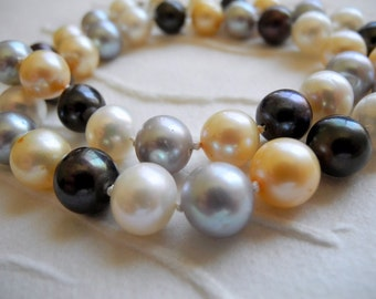 Freshwater Pearl Necklace Knotted Sterling Silver Safety Clasp Yellow Gold Black White Grey Multi Color Wedding Bridal