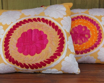 JUST REDUCED Upcycled Antique Suzani Fragment Pillows
