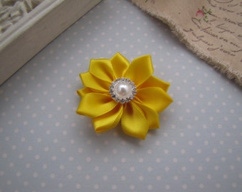 Flower Girl . satin ribbon flower . clippie . girls hair accessory . yellow . choose your clip style