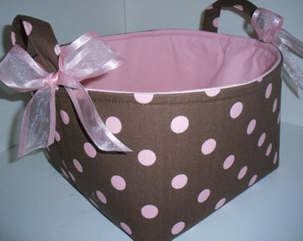 Large 10 x 10 x 7 Diaper Caddy / Organizer Bin / Pink Brown Polka Dots - Personalization Available