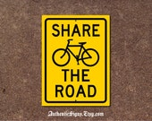 Bicycle Sign - Share The Road Yellow and Black