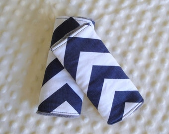 Reversible Car Seat Strap Covers In Chevron and Minky, You Choose Colors