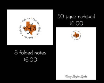 Personalized Texas Note cards or Note Pads...your choice