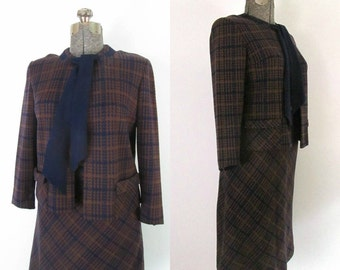 Vintage Wool Knit Suit Skirt and Jacket Set 1970s Classic Office Chic
