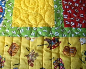 Alphabet Baby Quilt Toys ABCs Primary Colors Gender Neutral Quiltsy Handmade Quilted FREE U.S. Shipping