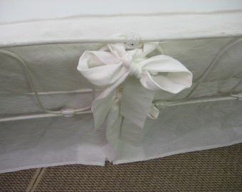 Crib Bedding in Washed Vintage White Linen-Boxed Bumpers and Tailored Crib Skirt