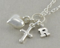 Small Cross Necklace, Sterling Silver, Heart, tiny silver cross, personalized, baby baptism necklace, christening gift, confirmation, RACHEL