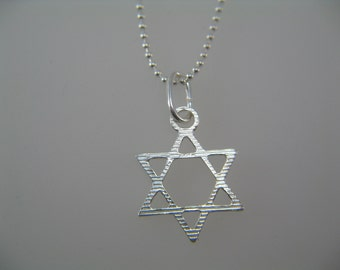 Sterling Silver Star of David, Star Pendant Necklace, Star of David Charm Necklace, Simple Star of David Necklace for Men or Women