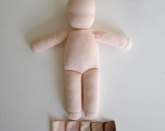 Waldorf doll body, organic, 12 inch, blank doll, light skin, dark skin, color grown cotton, wool, doll making supplies