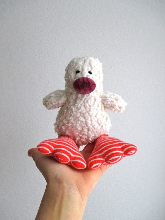 Duck, duckling, organic, eco friendly, baby gift, shower gift, organic kids, soft, cuddly, white, red, orange, ready to ship