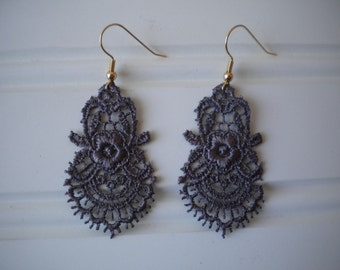 Lace Earrings in Eggplant