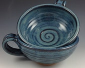 Soup Bowls, Set of 2 Bowls with Handle, Handmade Pottery Bowls in our Denim Blue Glaze