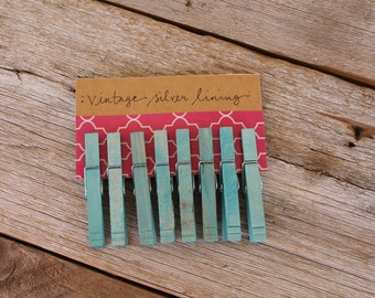 Hand-dyed Turquoise Clothespins, Set of 8