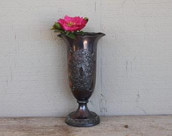 Vintage Ornate Silverplate Vase