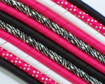 12yds--Shocking Pink and Zebra--Fun Colors--Korker Ribbon