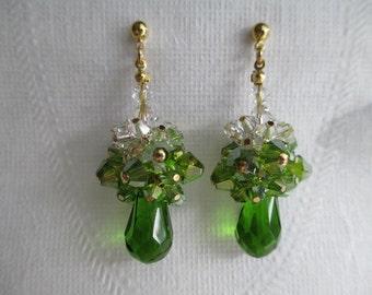 Peridot Ombre Teardrop Earrings Swarovski Crystal Clusters Peridot Green Earrings