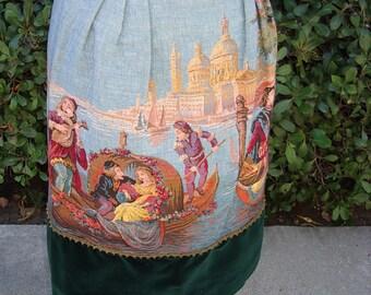 1960's Designer Original Venitian Tapestry/ Velveteen Collectors SKIRT Size 6 #1700 Dressy Separates