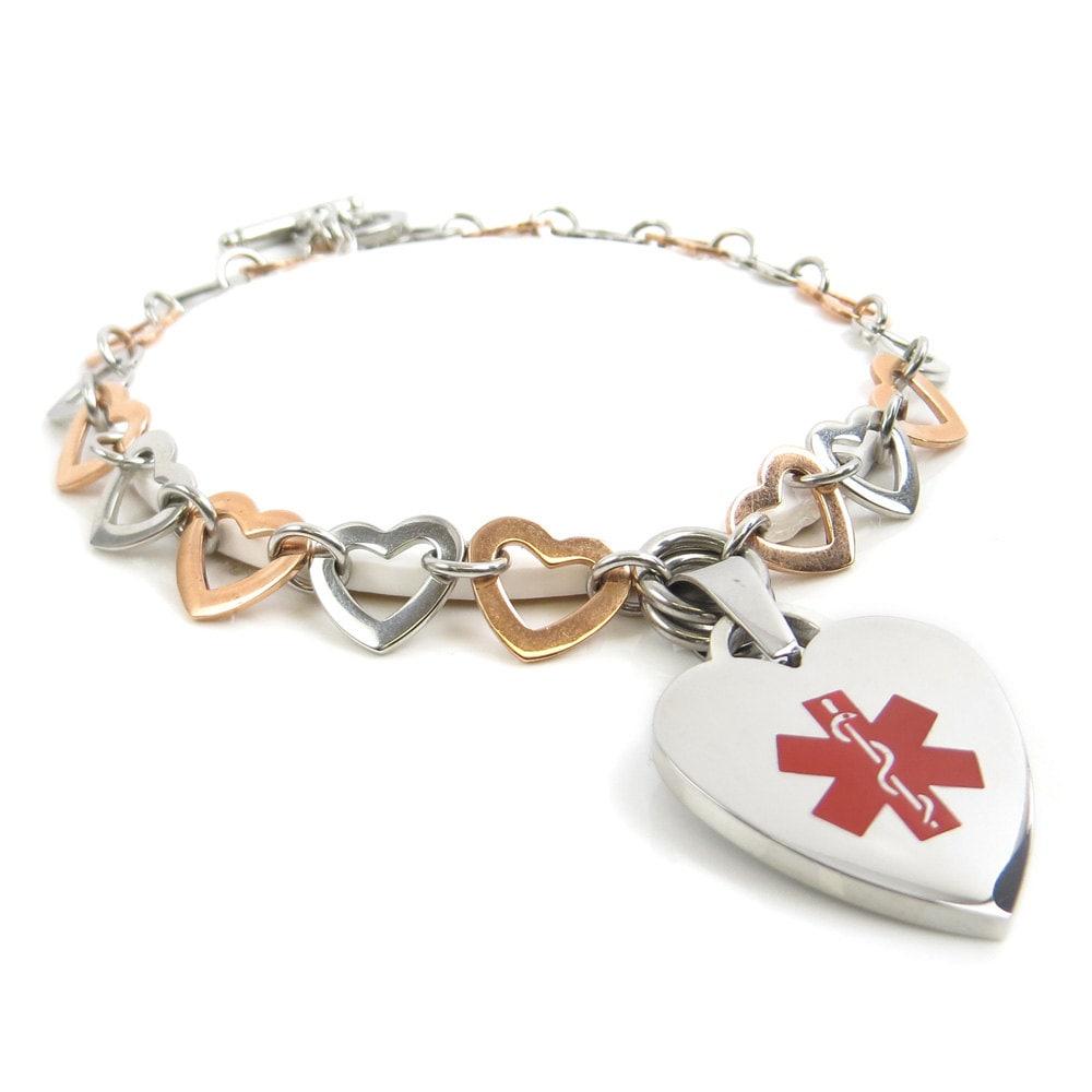 Engraved Charm Bracelet: Engraved Medical Charm Bracelet Silver & Rosy Gold Hearts