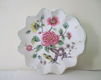 Rose and Bird Bowl - vintage Cottage Chic James Kent, Old Foley, Chinese Rose small trinket dish, soap dish, berry bowl - made in England