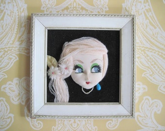 vintage 1940s Glamour Girl - Portrait on Black Velvet, in sweet square frame - framed nylon art, 3 dimensional