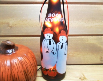 Halloween Lighted Wine Bottle Light Boos Brothers Pumpkins Hand Painted 750 ml