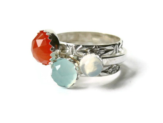 Stacking gemstone ring set sterling silver rings faceted orange carnelian, ocean blue chalcedony, moonstone rings