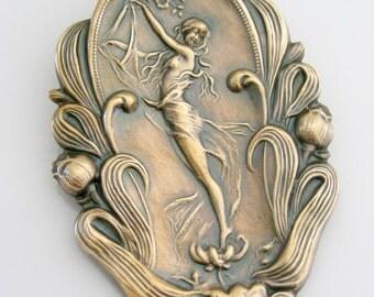 Vintage Brooch - Art Nouveau jewelry - Garden Fairy jewelry - Vintage Brass Pin -Statement jewelry - handmade Jewelry