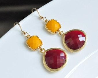 Burgundy Yellow Mustard Gold Drop Bezel set Earrings,Jet nut and yellow earrings, Bridesmaids Earrings,Wedding jewelry, Gemstone earrings