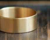 Recycled 10K Gold His Or Hers Wide Engagement Wedding Band w Satin Brushed Finish w Secret Message- Personalized Wide Band-PaleFish