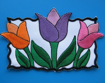 Iron-On embroidered Patch Tulips 4.75 inch