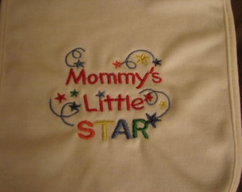 Embroidered Baby bib-Mommys little star multi-color-2ply