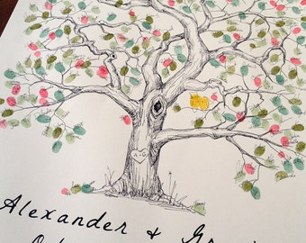 Fingerprint Tree Wedding Guest Book Alternative, Original Hand-drawn Extra Large Elm Design (ink pads sold separately)