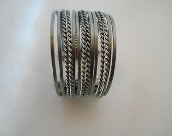 Metal Cuff Bracelet, 14 Rows,  Rope, Smooth Designs,  Handcrafted,  Vintage,  Gifts for Her , #4368