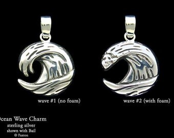 Ocean Wave Charm / Necklace Sterling Silver