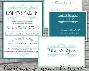 Custom Color Wedding Invitation- Vintage - SET